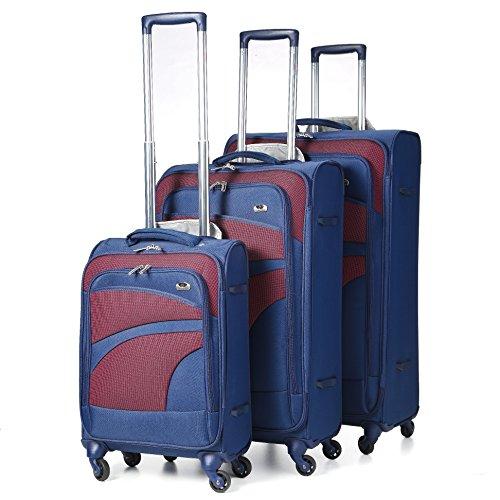 Aerolite Set di 3 Trolley Valigie Ultra Leggeri con 4 Ruote , 55cm Bagaglio a Mano + 68cm + 81cm , Blu Marino/Viola