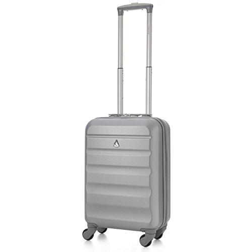 Aerolite ABS trolley bagaglio a mano valigia rigida con 4 ruote, Argento