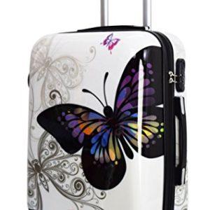 Trolley da cabina 55 cm valigia rigida 4 ruote in abs policarbonato stampato a fantasia compatibile voli lowcost come Easyjet Rayanair fantasia Farfalla