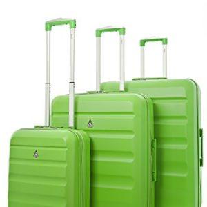 Aerolite Set di 3 ABS Trolley Valigie Rigide Leggeri con 4 Ruote , 55cm Bagaglio a Mano + 69cm + 79cm , Verde