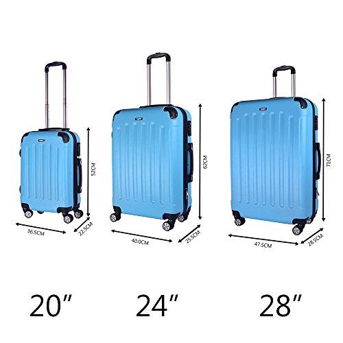 Sunydeal® di Set Valigie Trolley Bagaglio Rigida in ABS 4 Ruote ultra leggere 55cm/65cm/75cm NEW TSA per Famiglia Azzurro