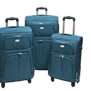 Trolley valigia set valigie semirigide set bagagli in tessuto super leggeri 4 ruote piroettanti trolley piccolo adatto per cabina con compagnie lowcost art.214 (Petrolio)