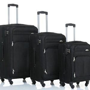 8005di 34ruote valigia bagaglio trolley da viaggio valigia Trolley Set in 5colori BLACK Set