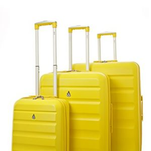 Aerolite Set di 3 ABS Trolley Valigie Rigide Leggeri con 4 Ruote , 55cm Bagaglio a Mano + 69cm + 79cm , Giallo