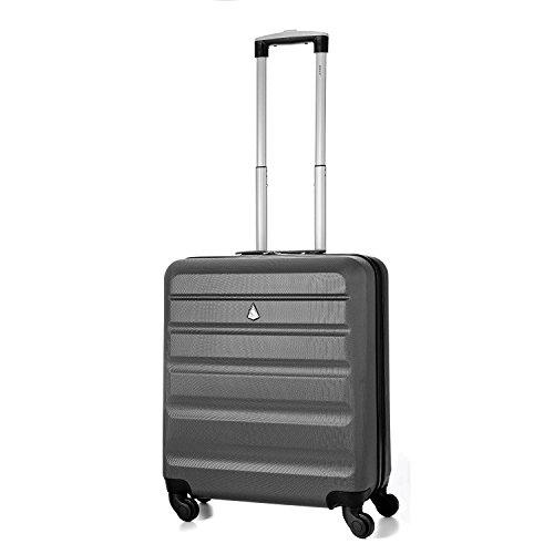 Aerolite leggero 56x45x25cm Easyjet e British Airways BA Cabina massima Allowance guscio duro di mano viaggio dei bagagli Spinner Valigia a 4 ruote 22in, 41L (Carbone)