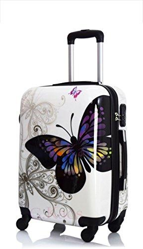 Trolley da cabina 50 cm valigia rigida 4 ruote in abs policarbonato stampato a fantasia compatibile voli lowcost come Easyjet Rayanair fantasia Farfalla (Bianco 50 cm)