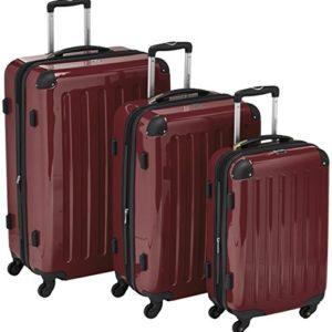 HAUPTSTADTKOFFER – Alex – Set di 3 valigie, Nero brillante, (S, M & L), 235 litri, Colore  Bordeaux