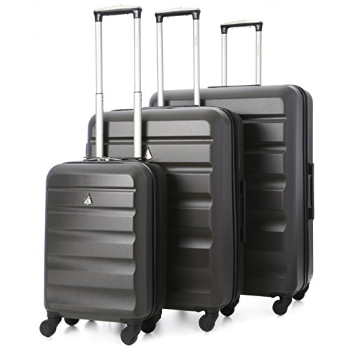 Aerolite – Set di 3 Trolley in ABS – Valigie rigide e leggere con 4 ruote – 55cm Bagaglio a mano + Bagaglio medio 69cm + bagaglio grande 79cm – Grigio Carbone