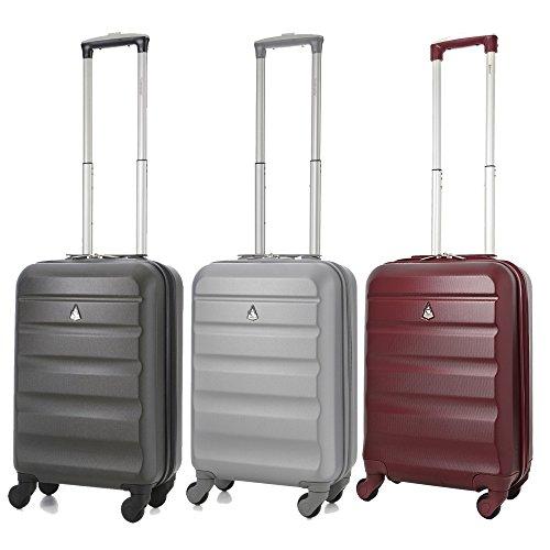 Aerolite ABS Trolley Bagaglio a Mano Valigia Rigida Leggera con 4 Ruote , Approvata per Ryanair , Easyjet , Alitalia , Lufthansa , Swiss e Molte Altre , Grigio Carbone + Argento + Vino Rosso
