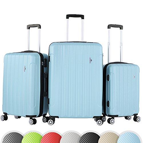 Vojagor Set valigie trolley guscio rigido set da 3 trolley S/M/L colore blu ghiaccio