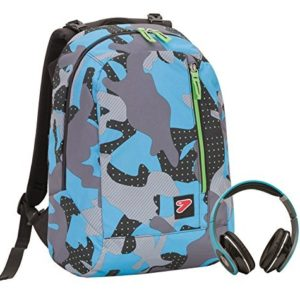 2 in 1 Zaino Reversibile SEVEN THE DOUBLE – COLOR CAMOUFLAGE – Blue – cuffie stereo con grafica abbinata incluse!