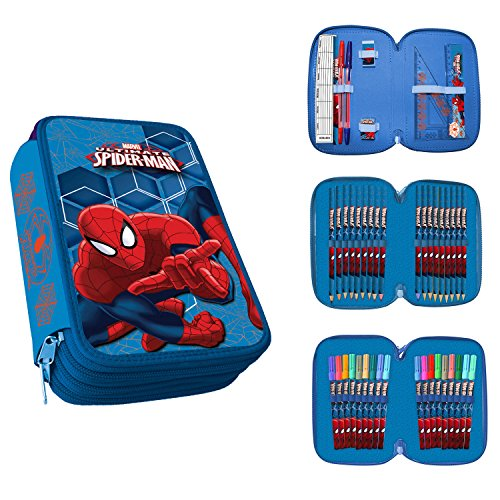 Astuccio 3 Zip Originale Spiderman Ultimate Completo 42 Pezzi