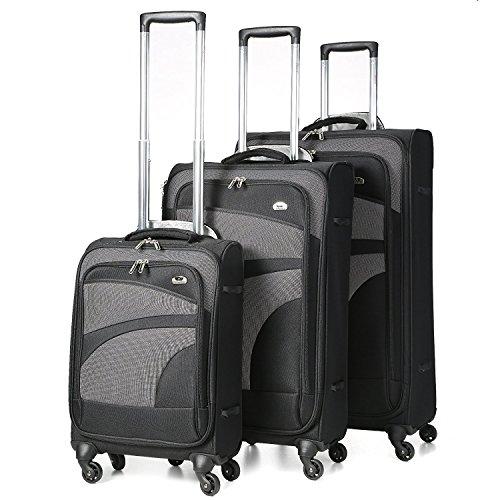 Aerolite Set di 3 Trolley Valigie Ultra Leggeri con 4 Ruote , 55cm Bagaglio a Mano + 68cm + 81cm , Nero/Grigio
