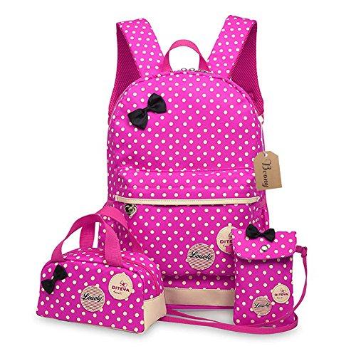 Bcony 3 pezzi carina punto Cartelle e zaini per la scuola / Zainetti per bambini + ragazza borsetta + mini crossbody Borse,Rosso Rose +Giallo