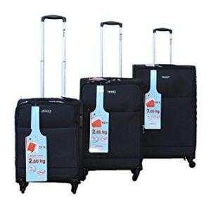 Dielle ultraleggero valigie trolley set estendibile – 3 Pezzi Set (Grande, Medio, Bagaglio a mano) – 4 Ruote – carrello interno e chiusura a combinazione – morbido poliestere tessuto (Nero)