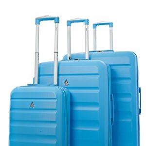 Aerolite – Set di 3 trolley in ABS – Valigie rigide e leggere con 4 Ruote – Bagaglio a mano ideale per Ryanair + 2 bagagli capienti da stiva – Blu
