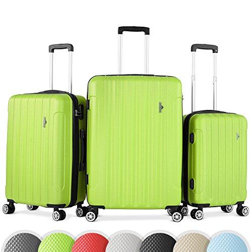 Vojagor Set valigie trolley guscio rigido set da 3 trolley S/M/L colore verde