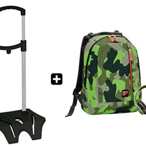 Zaino SEVEN – THE DOUBLE CAMOUFLAGE Verde + EASY TROLLEY – cuffie stereo con grafica abbinata incluse! 2 zaini in 1 REVERSIBILE