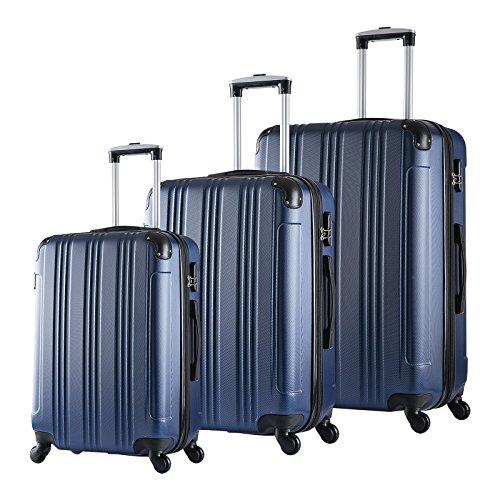 Woltu RK4208bl Set di Valigia Duro per Viaggio Bagaglio a Mano con Lucchetto Combinazione 4 Ruote Girevoli in ABS Blu 3 Pezzi M/L/XL