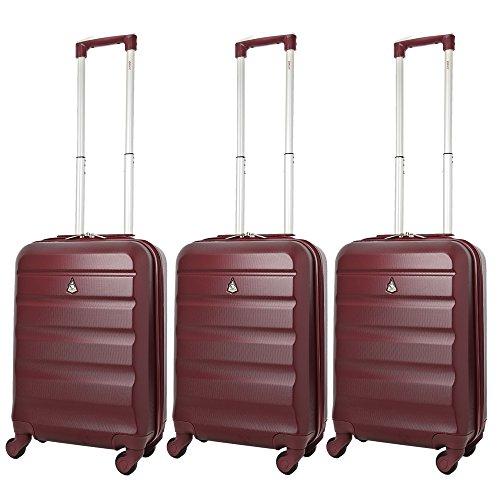 Aerolite ABS Trolley Bagaglio a Mano Valigia Rigida Leggera con 4 Ruote , Approvata per Ryanair , Easyjet , Alitalia , Lufthansa , Swiss e Molte Altre , Set di 3 Valigie , Vino Rosso