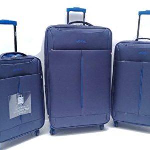Set 3 Valigie Trolley 4 Ruote Leggere In Tessuto Blu Clacson