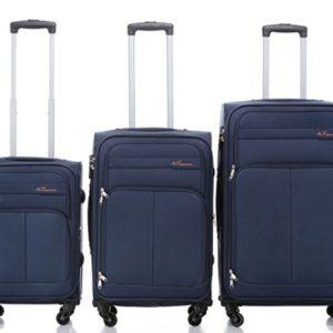 8005di 34ruote valigia bagaglio trolley da viaggio valigia Trolley Set in 5colori BLUE Set