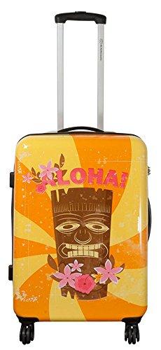 set di fino a 3 valigie bagaglio trolley policarbonato rigido leggero 4 ruote 360° con motivo PM (Hawaii Tiki, L)