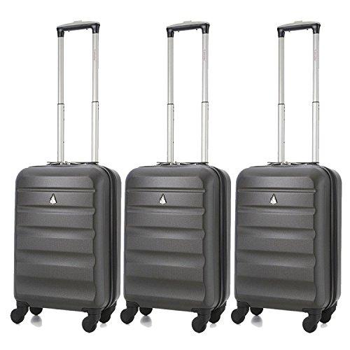 Aerolite ABS trolley bagaglio a mano valigia rigida con 4 ruote (3 x Carbone)