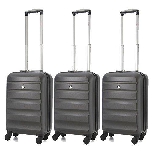 Aerolite ABS Trolley Bagaglio a Mano Valigia Rigida Leggera con 4 Ruote , Approvata per Ryanair , Easyjet , Alitalia , Lufthansa , Swiss e Molte Altre , Set di 3 Valigie , Grigio Carbone