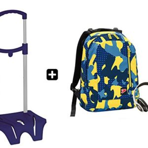 Zaino SEVEN – THE DOUBLE CAMOUFLAGE Blu + EASY TROLLEY – cuffie stereo con grafica abbinata incluse! 2 zaini in 1 REVERSIBILE